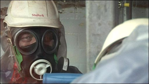 A Sellafield worker wearing a radiation mask