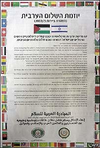 Anuncio sobre el plan de paz árabe publicado en la prensa de Israel