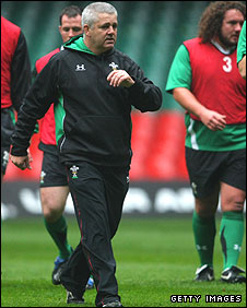 Warren Gatland takes a Wales training session