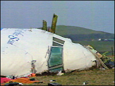 Wreckage of Pan Am 103 in Lockerbie, Scotland