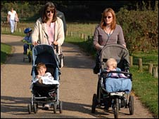 Mums puhing buggies in a park