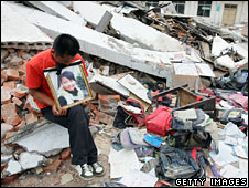 A father calls for investigation into the collapse of his children's school, May 2008
