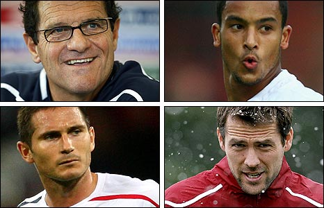 Capello, Walcott, Lampard and Owen