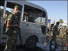 Lebanese soldier at the scene of a bombing Sept 2008