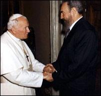 Иоанн Павел II и Фидель Кастро