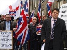BNP members campaigning in Burnley