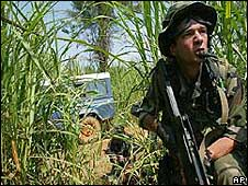 A French soldier in Ituri, DR Congo, in 2003