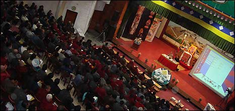 Members of the Tibetan exile community meeting in Dharamsala, India