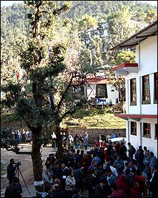 Delegates outside the Dharamsala venue