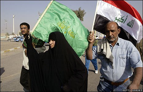 A group at a demonstration in Baghdad, Iraq (21/11/2008)