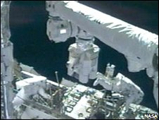 The astronauts lubricated the space stations mechanical arm
