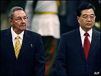 Raúl Castro y Ju Hintao