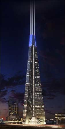 An artist's impression of the finished Russia Tower (image from Norman Foster and Partners website)