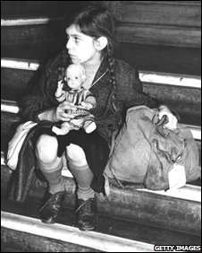 "Tired and alone, 8-year-old Josepha Salmon, the first of 5,000 Jewish and non-Aryan refugees, known as the ""Kindertransport"", arrives at Harwich from Germany, destined for Dovercourt Bay camp"