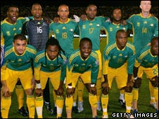 South African team  lines up before a match with Cameroon on 19 November