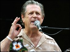 Brian Wilson on stage at Glastonbury
