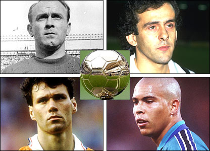 Clockwise from top left: Ballon D'Or winners Alfredo di Stefano, Michel Platini, Ronaldo and Marco van Basten