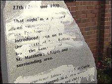 Vandalised memorial