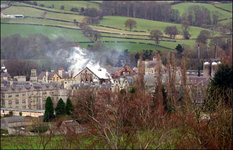 Firefighters had to use aerial ladder platforms to tackle the blaze (Pic Caeron Jones)