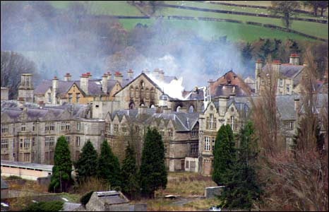 Around 50 firefighters were called to fight the fire at the former asylum (Pic Colin Jones)