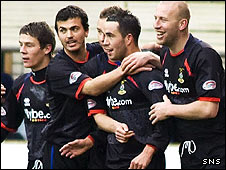 Inverness celebrate Doug Imrie's opening goal