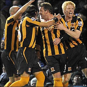 Hull celebrate their goal