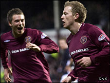 Andrew Driver (right) celebrates his winning goal