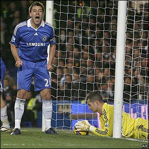 John Terry shouts at the assistant referee