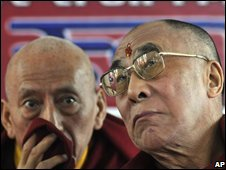 The Dalai Lama (right) confers with confers with his ally, Samdhong Rinpoche, in Dharamsala on 20 November