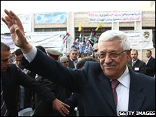 Palestinian President Mahmoud Abbas in Salfit, the West Bank, on 22 November