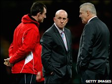 Wales coaching staff of Rob Howley, Shaun Edwards and Warren Gatland