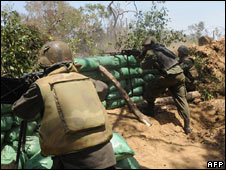 Government troops near Kilinochchi. File pic