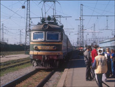 Tourists gather at Trans-Siberian train in 2000.