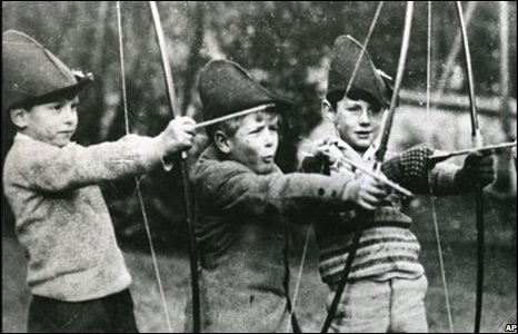 Practising with the bow and arrow