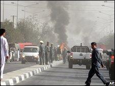 Scene of a Kabul car bomb attack in October 2007