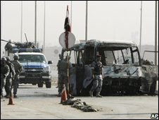 Scene of bus attack, east Baghdad