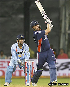 Andrew Flintoff  in action for England against India