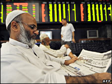 Karachi stock exchange. File pic.