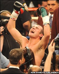 Joe Calzaghe celebrates beating Bernard Hopkins on points in Vegas