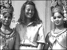 Jane Corbin with Cambodian dancers