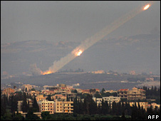 Katyusha rockets are fired from the outskirts of the Lebanese city of Tyre (6 August 2008)