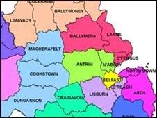 map of NI councils
