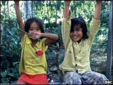 Two Cambodian girls at play, 1999.