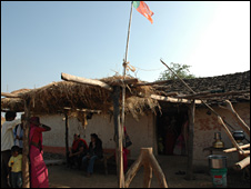 A political party flag atop a hut in Jamdoba