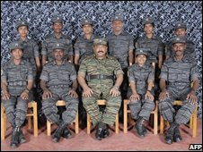 Velupillai Prabhakaran (centre) with a team of suicide bombers