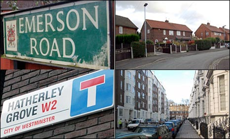 Emerson Road, Stoke-on-Trent, and Hatherley Grove, London