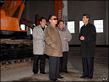 Kim Jong-il visits the Rakwon Machine Complex in Sinuiju, North Korea. (Photo by Korean Central News Agency)
