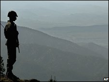 Pakistani soldier on the border with Afghanistan