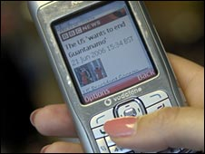 News website on a mobile phone