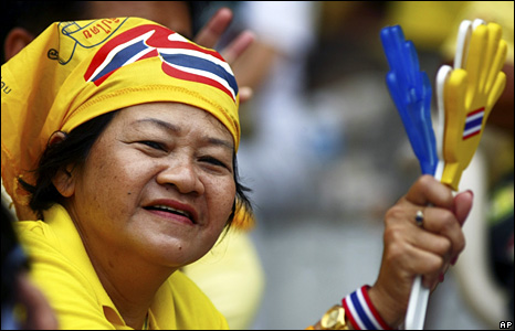 PAD supporter at a rally at Don Muang Airport